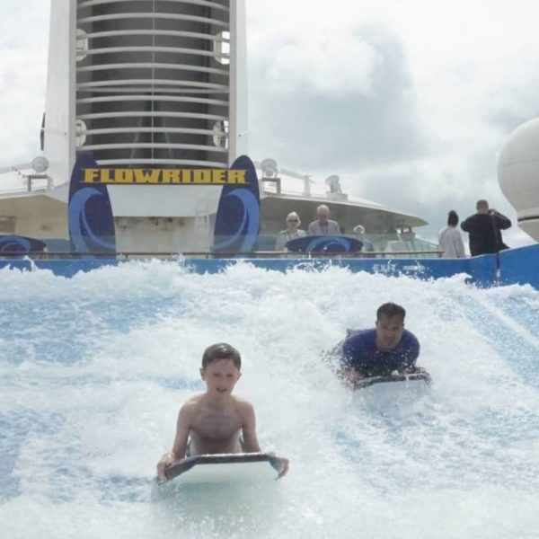 A 10 year old on the FlowRider on the Liberty of The Seas cruisingkids.co.uk