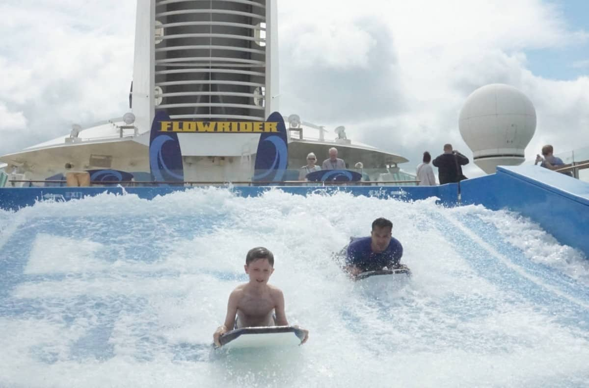 A 10 year old on the FlowRider on the Liberty of The Seas cruisingkids.co.uk kids cruising