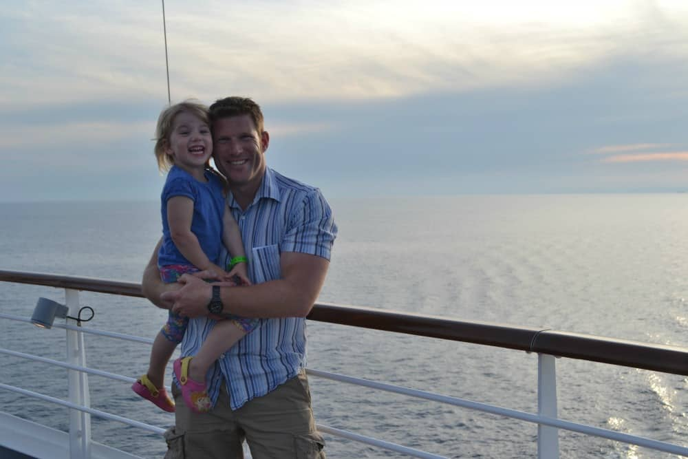 Tin Box Tot and Mr Tin Box Vista sunset - Carnival Vista a family-friendly cruise ship