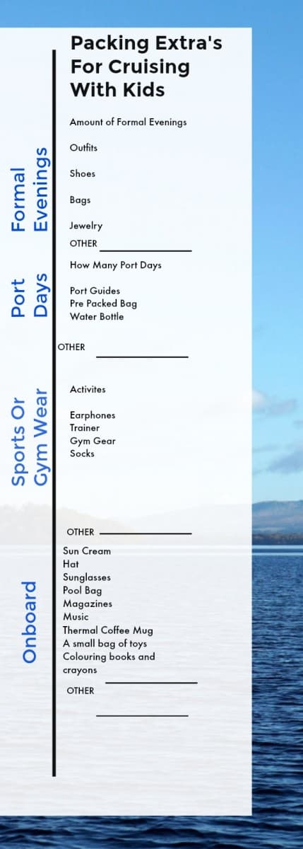 Packing Guide and checklist for cruising with kids and teens taking into account port days and activities www.cruisingkids.co.uk