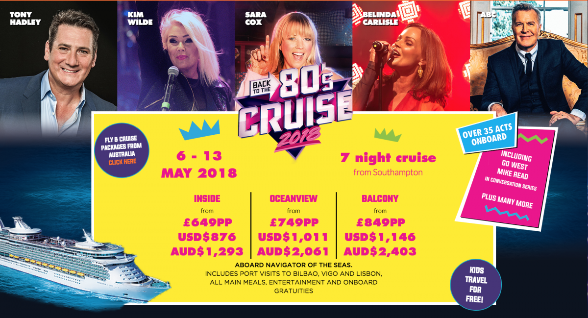 Back to the 80's family cruise, kids sail for free