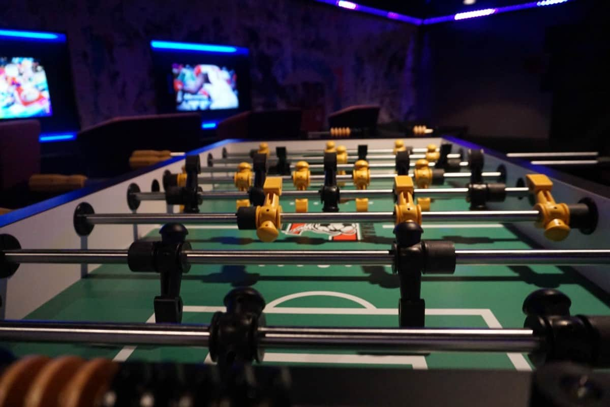 Table Football in the teen lounge on Norwegian Bliss www.cruisingkids.co.uk