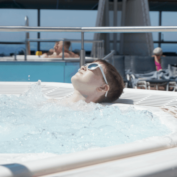 Chilling in the hot tub onboard Celebrity Silhouette