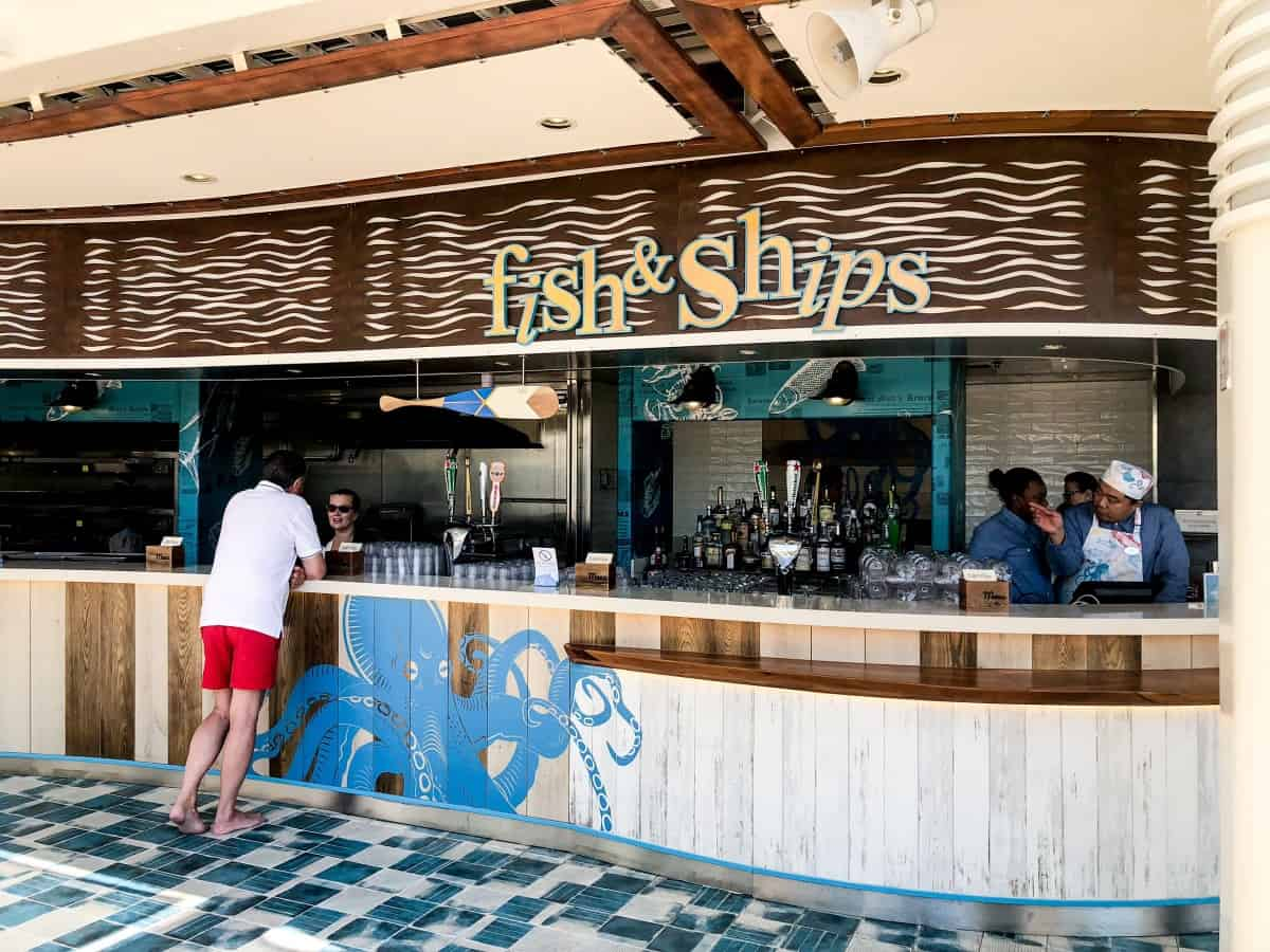 Fish and chips bar on Independence of the seas.