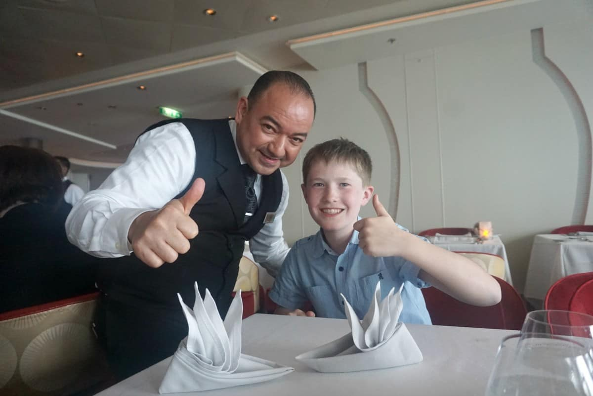 Napkin folding on Celebrity Cruises, with kids