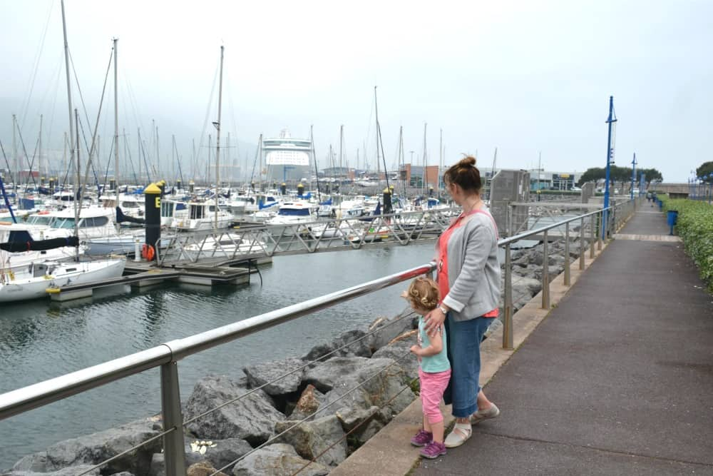 Claire and Baby looking at ship in Bilbao - Bilbao Cruise Port Guide