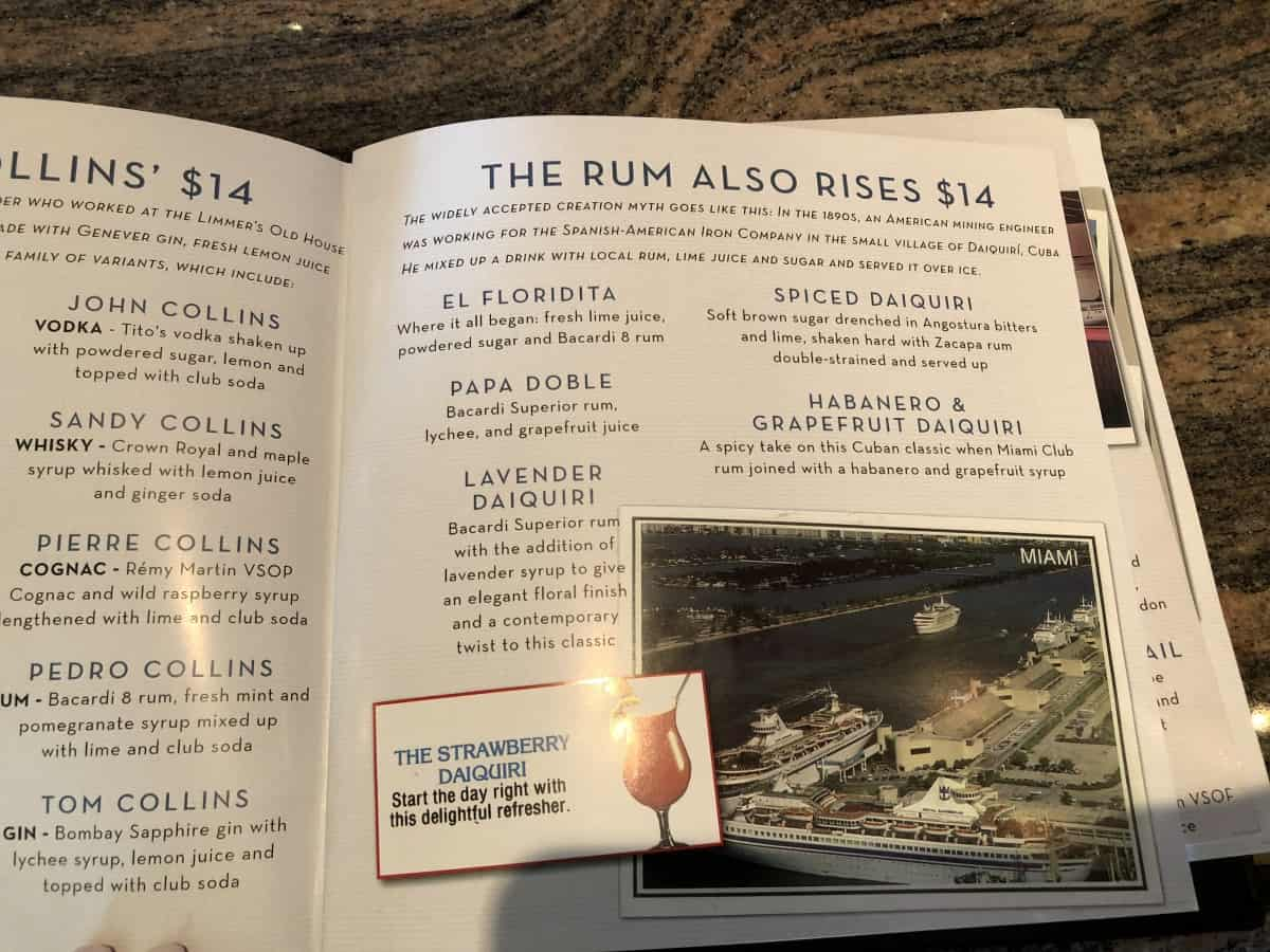 drinks menu Royal Caribbean Independence of the seas as of May 2018 rum cocktails