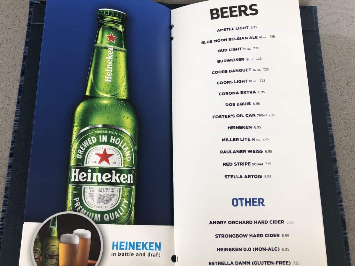 Royal Caribbean Freedom class drinks menu beers