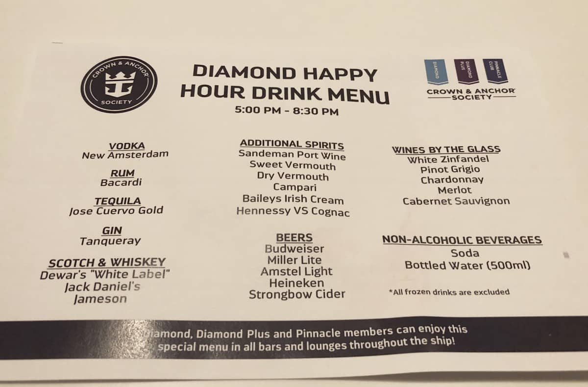 This is the Diamond Members club drink menu in the Diamond Club room.