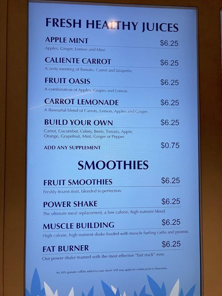 Vitality spa bar menu prices