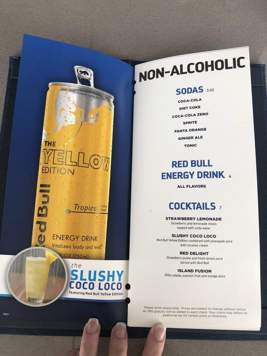 Symphony of the Seas, Oasis class drinks menu non-alcoholic drinks