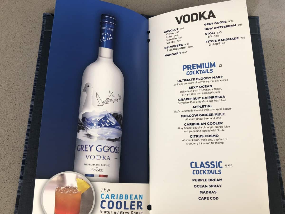 Symphony of the Seas, Oasis class drinks menu Vodka Cocktails
