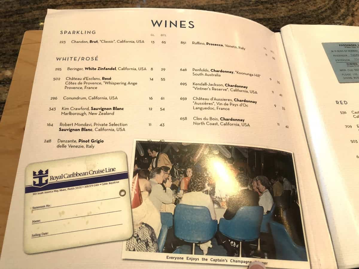 drinks menu Royal Caribbean Independence of the seas as of May 2018 wines