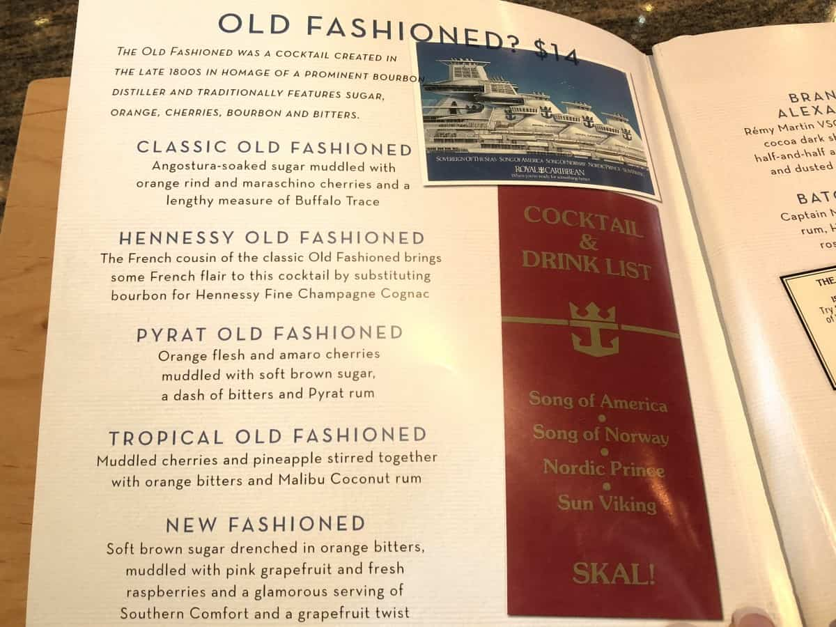 drinks menu Royal Caribbean Independence of the seas as of May 2018 cocktails