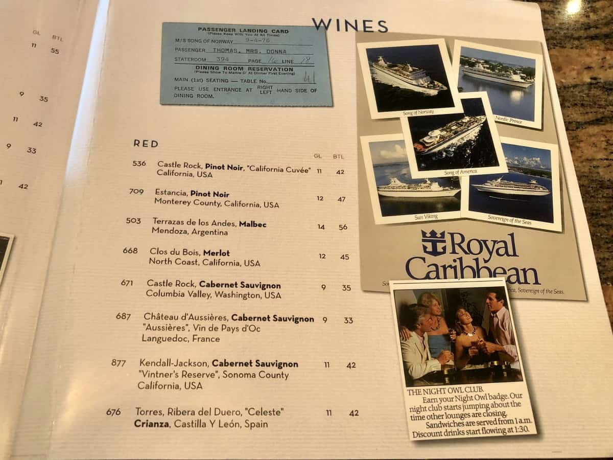 Royal Caribbean schooner bar menu wines