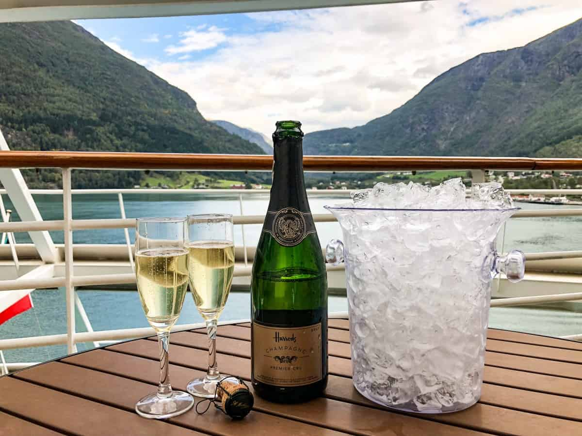 Champagne on the balcony along the fjords