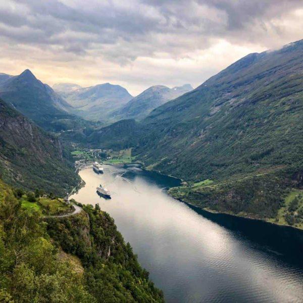 Geiranger fjord view form eagle bend