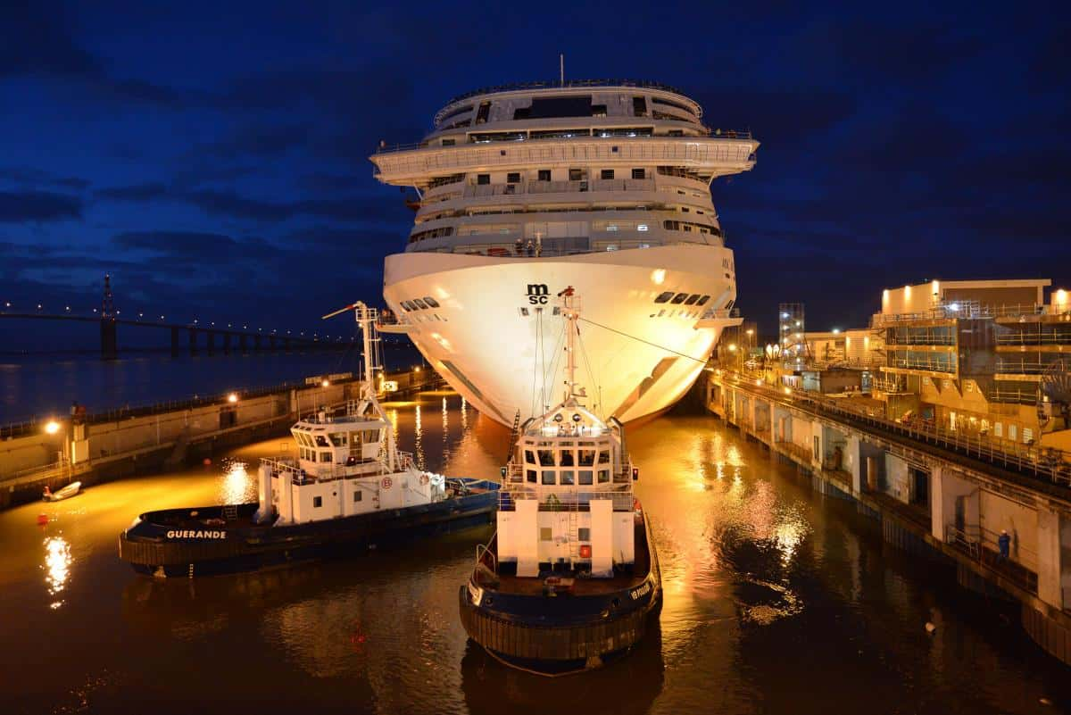 MSC Bellissima in dry Dock at night