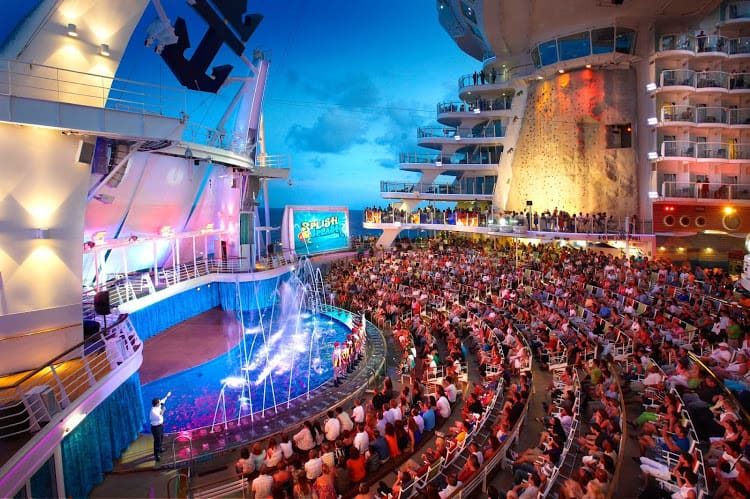 Cruise ship entertainment The Aqua Theatre on Royal Caribbean a spectacular open air water theatre.