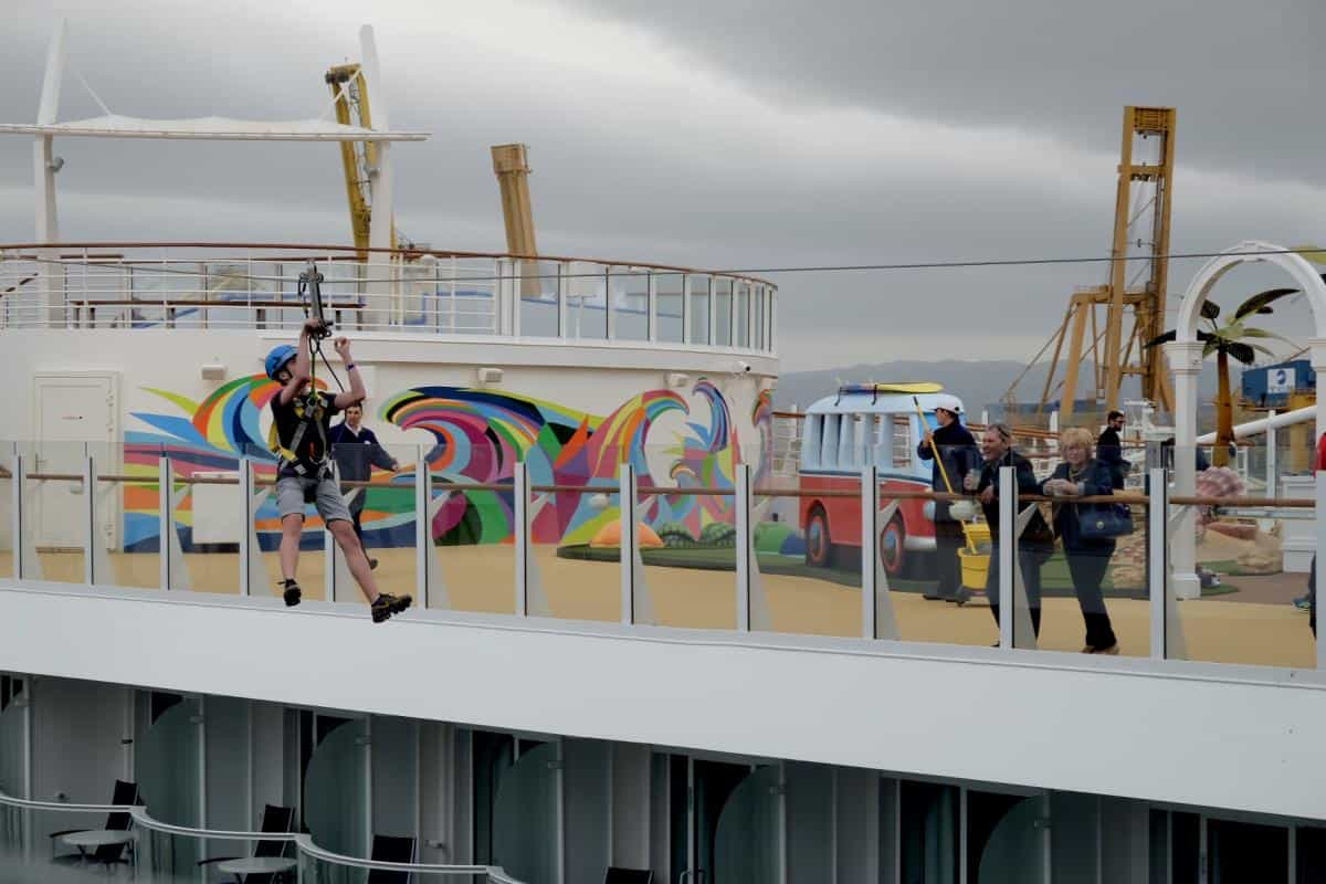 Zip line onboard Royal Caribbean Symphony of the Seas is over 10 stories high! Cruise entertainment for familes