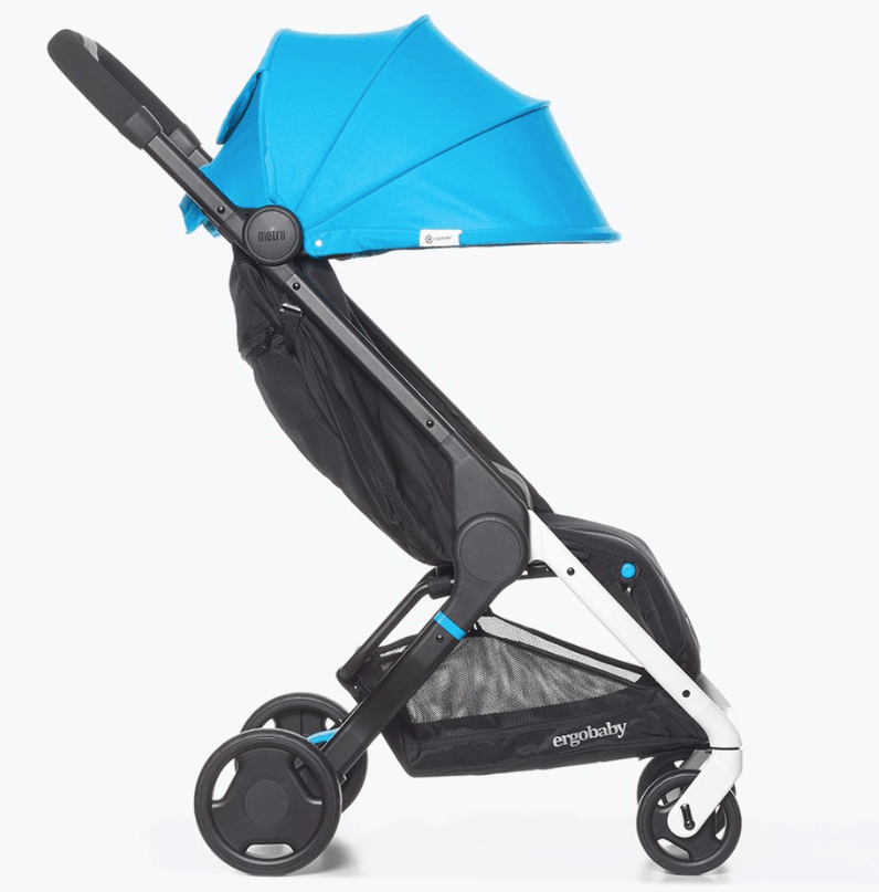 Ergobaby Metro Compact City Stroller, from 6 months up to 18 kg (from birth with Newborn Kit, easy to use, one hand fold, weather cover included. Dimensions 44 cm wide. Costs £299.00