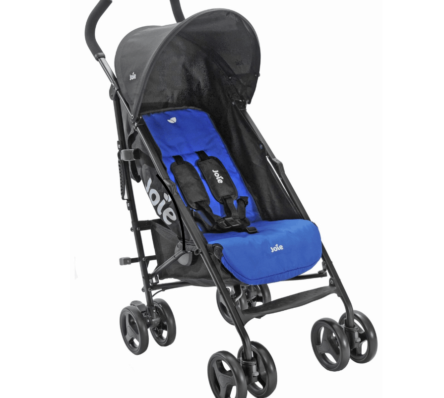 Joie Blue Nitro Stroller, weight 7.98kg, suitable from birth, foot operated umbrella fold, dimensions, folded size L35, W30, D109.5cm, suitable for babies up to 22.5kg. ( Also comes in pink)