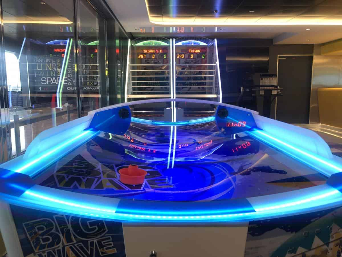 How family friendly is the MSC Bellissima? air hockey table in the games arcade