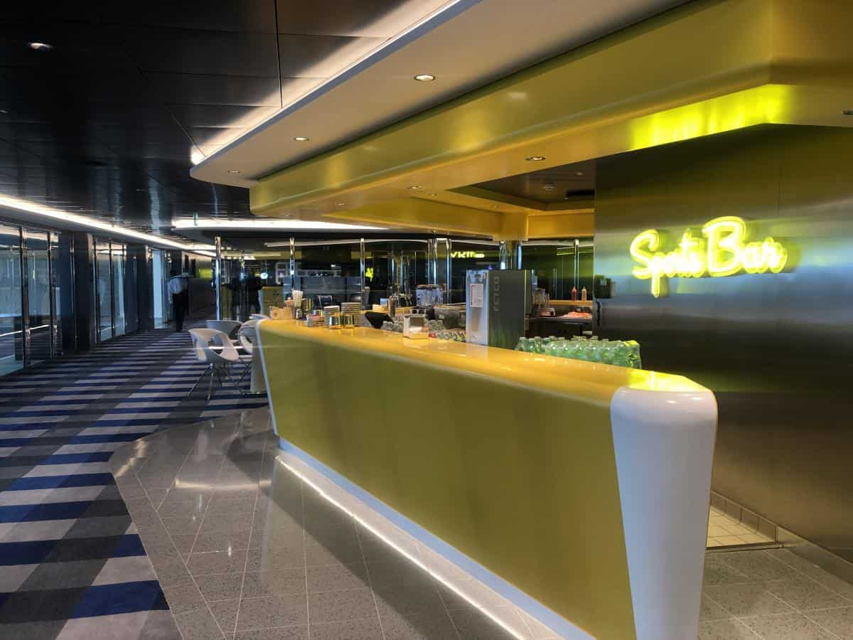 There is plenty of activities onboard such as sports activities in sports plex, dance classes and quizzes.The is the Sports flex bar on the MSC Bellissima