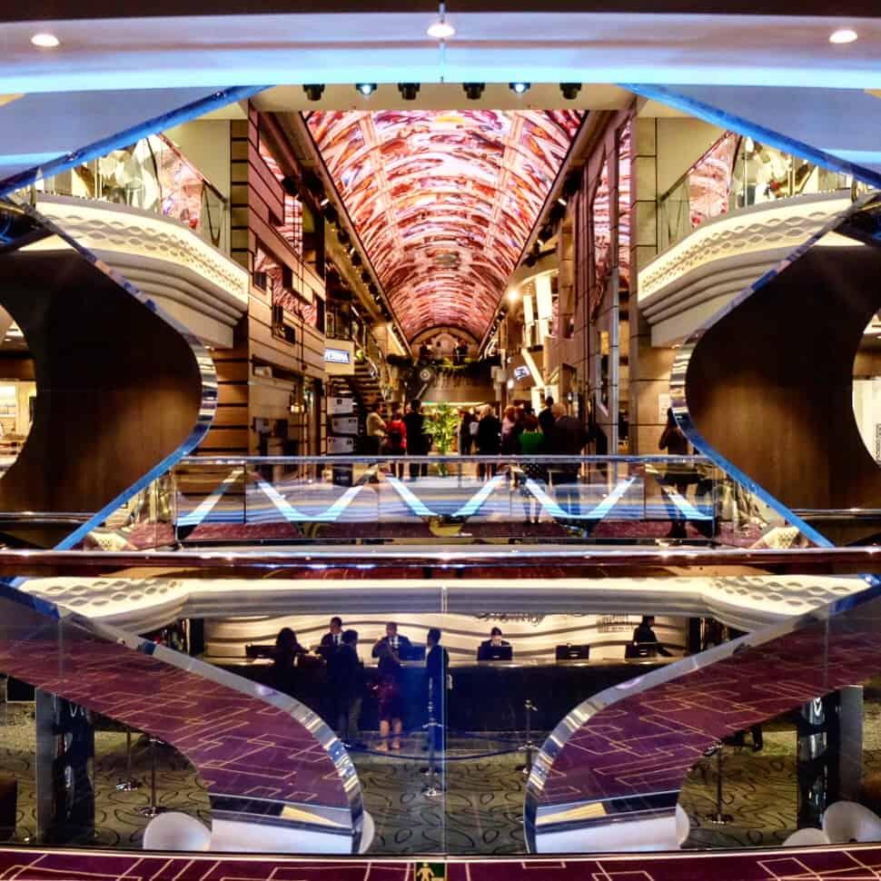 MSC Bellissima cruise ship. the stunning atrium looking through to the promenade
