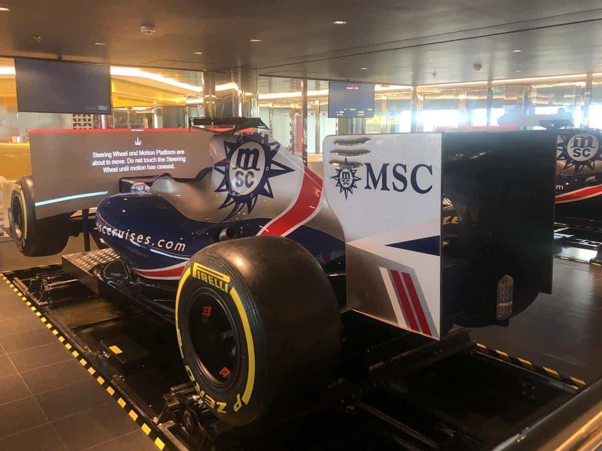 The Formula 1 racing simulator onboard the MSC Bellissima , In the sportsplex you will find the Virtual Games Arcade. Here you can find two lifesize authentic F1 racing simulators an XD theatre and even a bowling alley.