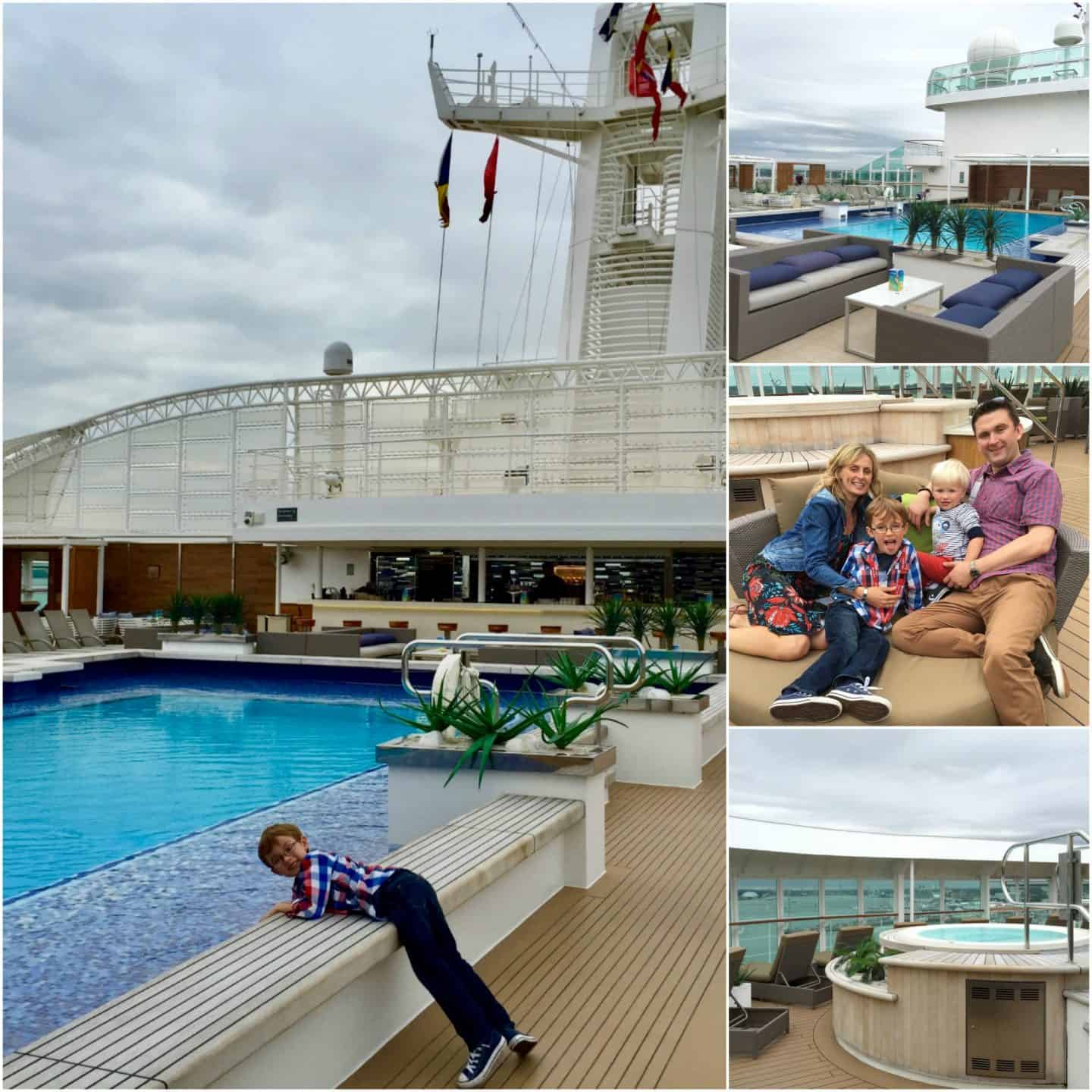 Pools on the top deck P&O Cruises Britannia