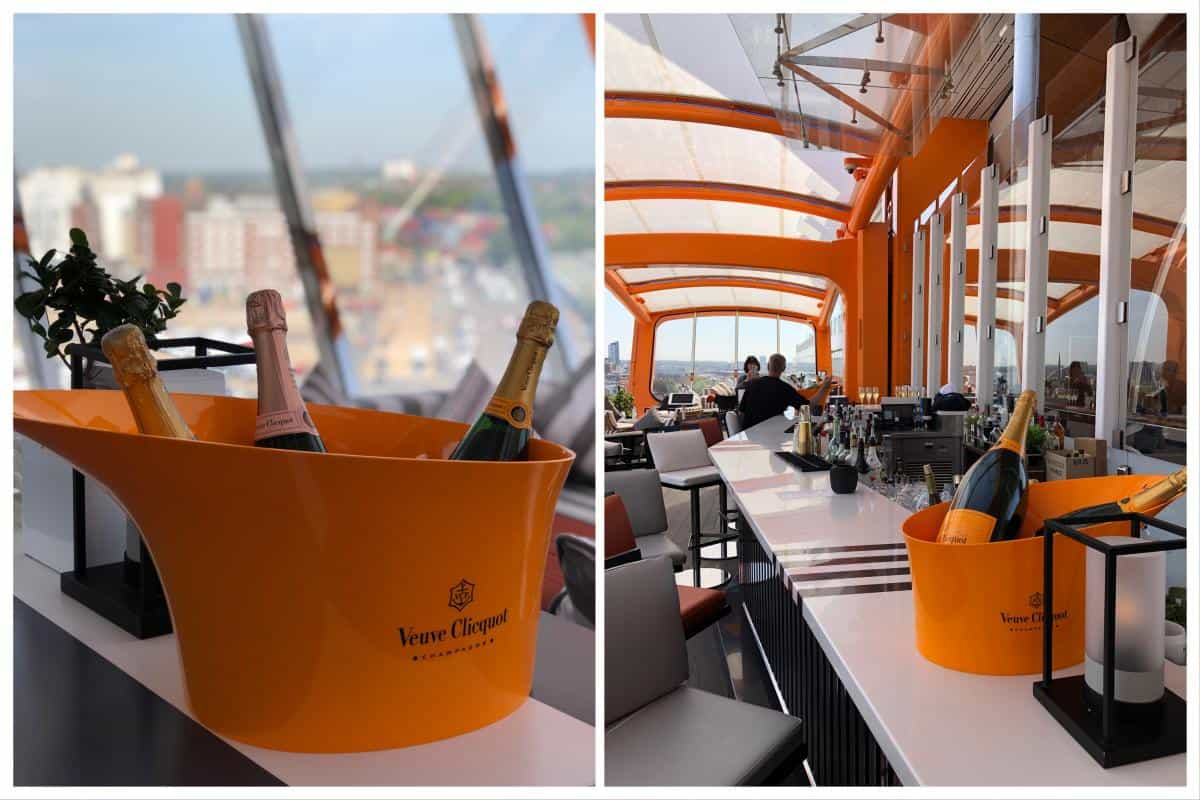 The Magic Carpet bar on the Edge transports you from deck 5 to deck 14 without losing a drop from your champagne glass