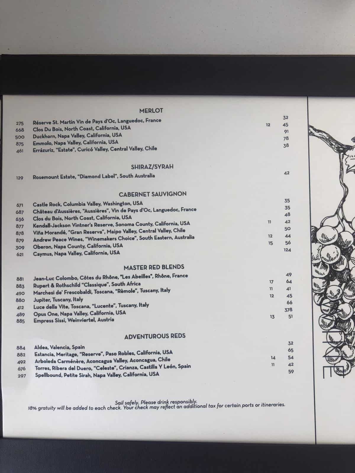 Coastal kitchen drink menu wine menu Royal Caribbean