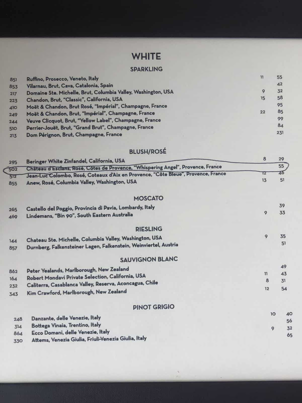 Coastal Kitchen wine and drinks Menu that is not inclusive.