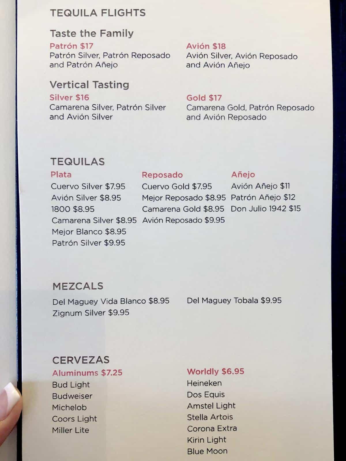 Tequila Flights drinks menu onboard Oasis of the Seas