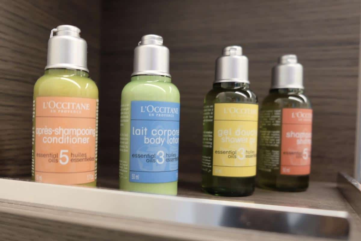 The Royal Suite Class  have luxury toiletries supplied in the bathrooms which are the French brand l'occitane.