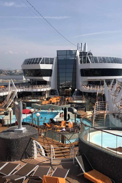 MSC Divinia overlooking the pool area