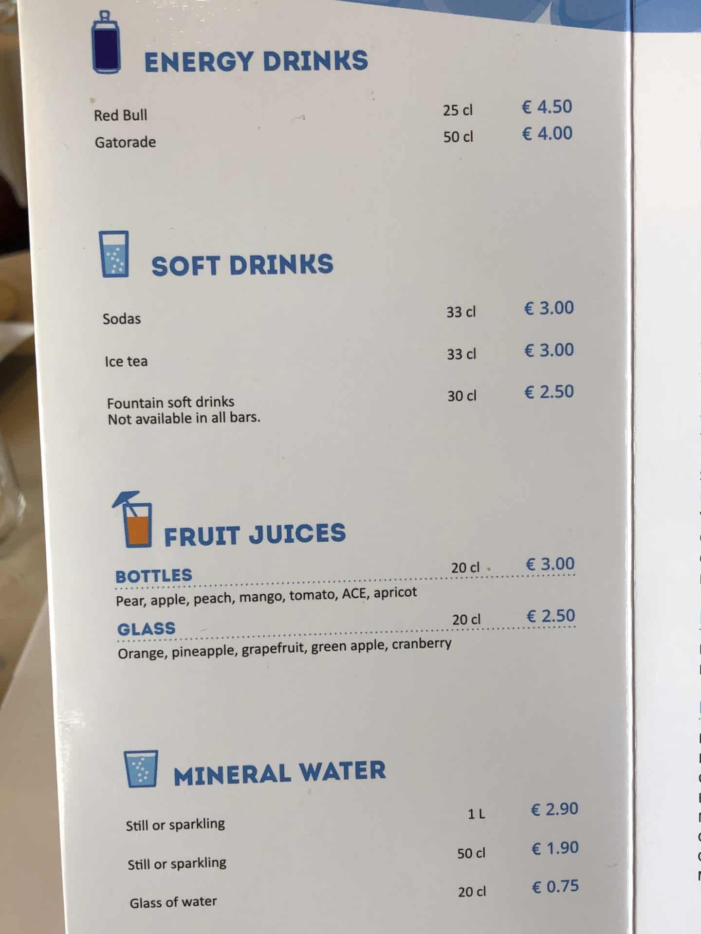 MSC Drink menus 2019 Energy drinks