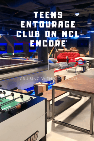 Norwegian Encore cruise line ultra cool teen club Entourage onboard the cruise ship.