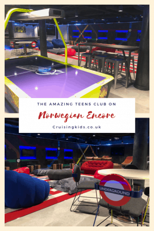Norwegian Encore cruise line ultra cool teen club onboard the cruise ship.
