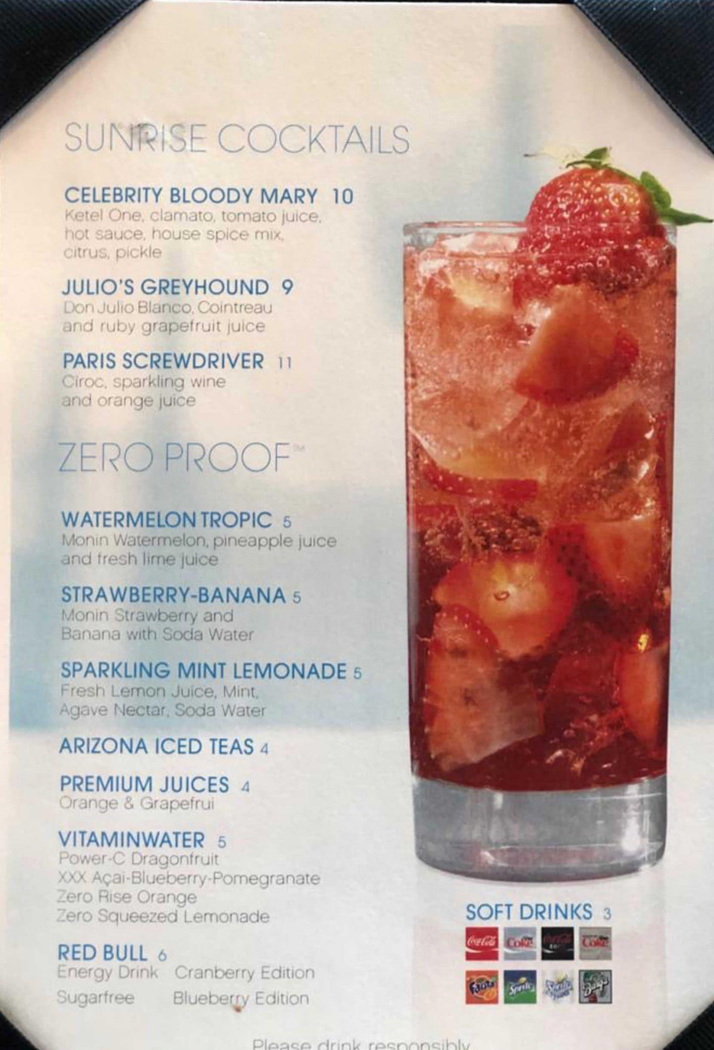 Celebrity Edge Drinks Menu,Celebrity Cruises Drink Packages