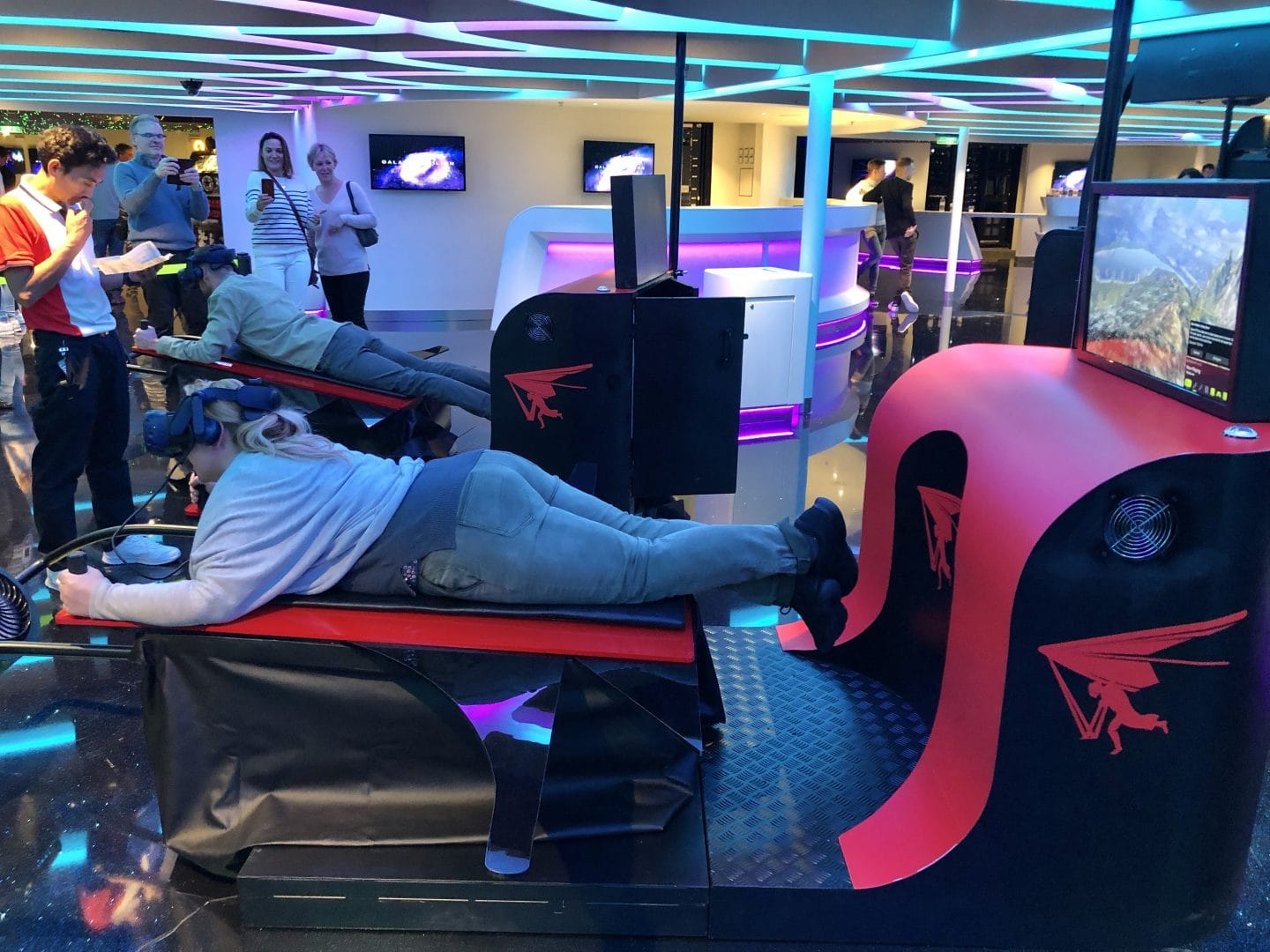 Amazing paragliding VR machine in the Galaxy Pavilion on the Norwegian Encore