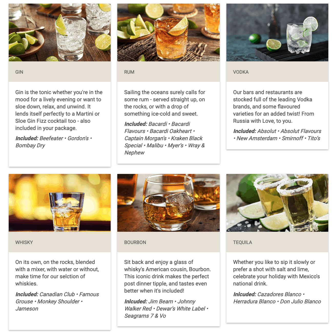 Spirits Included In The Celebrity Cruises Classic Drinks Package.