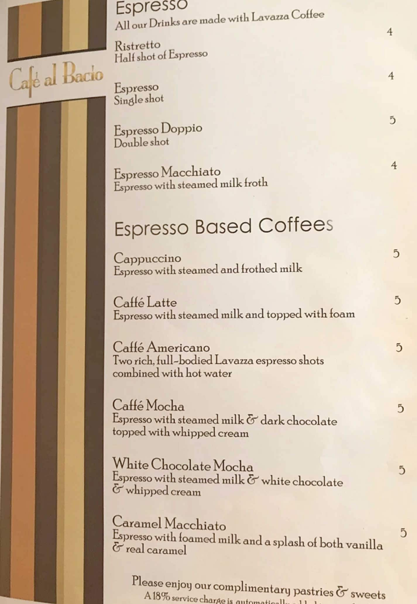 Cafe Al Bacio Coffee menu Celebrity Cruises,Celebrity Cruises Non Alcoholic Drink Packages