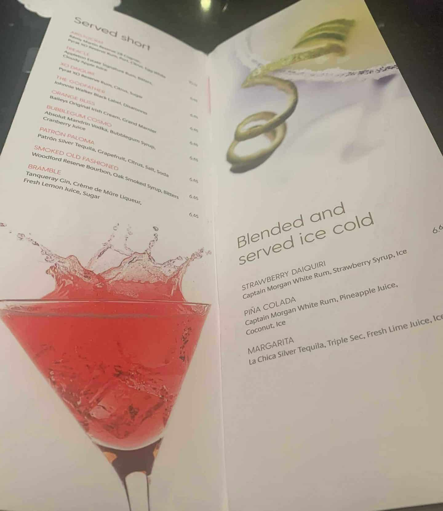 Cocktail menu for drinks packages on P&O 2020