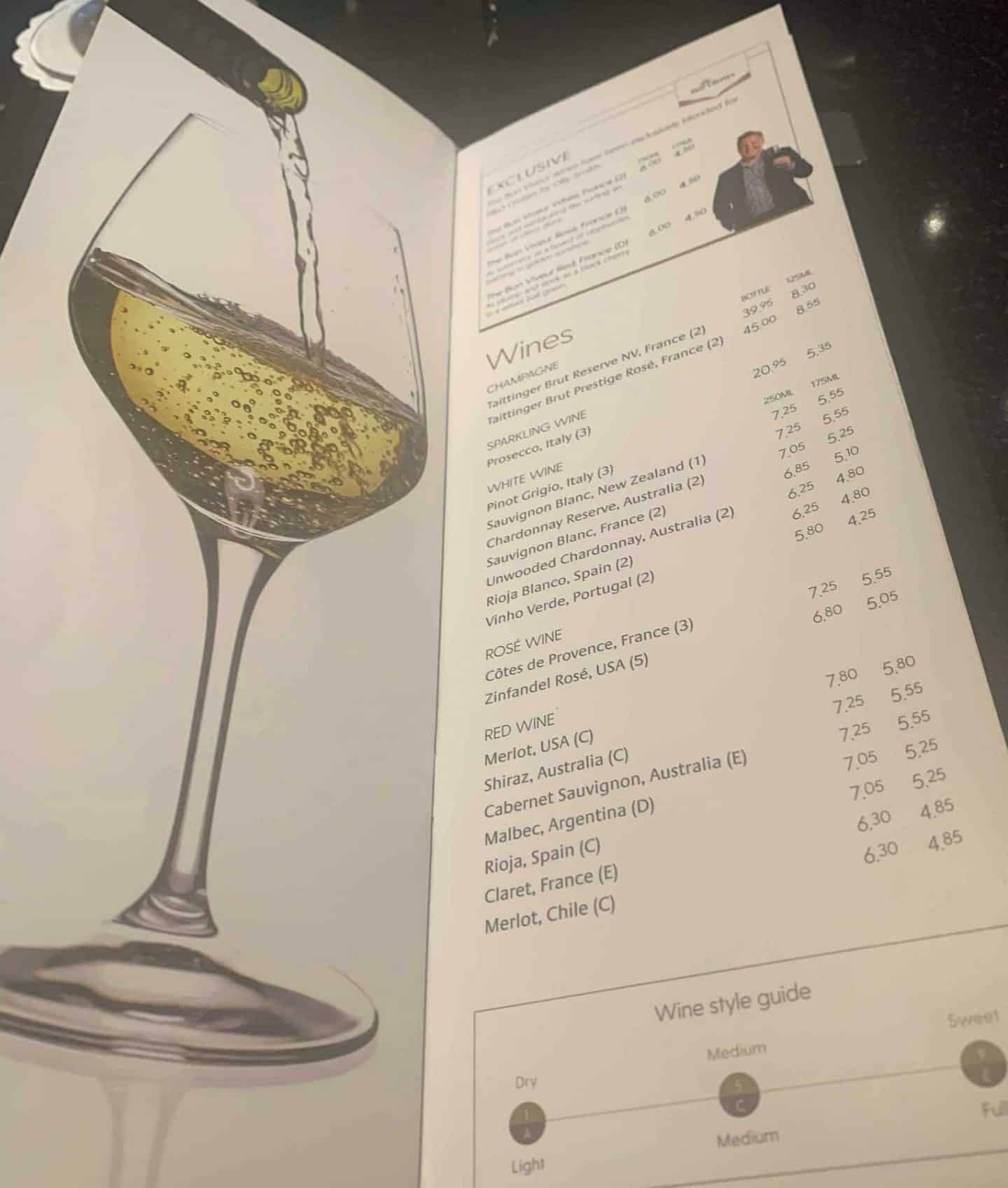 Wine by the glass and bottle menu P&O cruises 2020