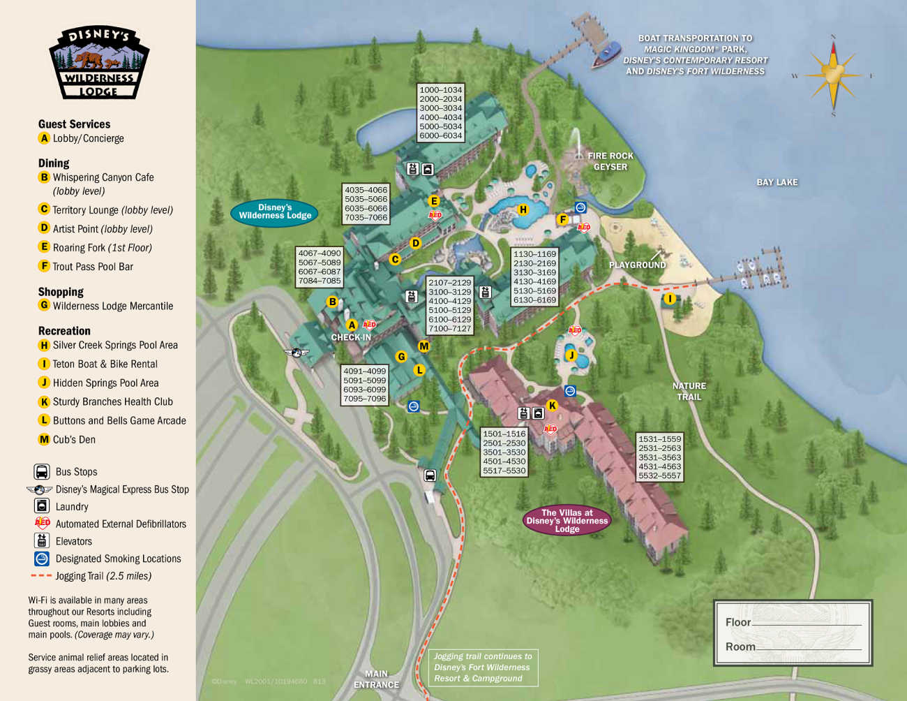 Where to get the water taxi on the Wilderness Lodge Map Disney